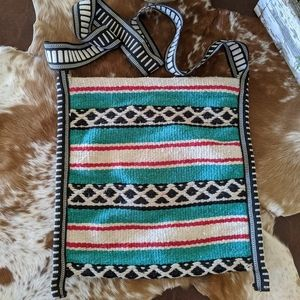 Vtg Saddle Blanket Mexican Boho Crossbody